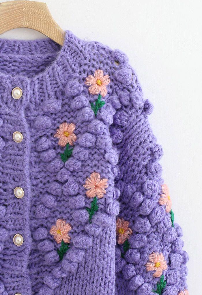 花柄ハンドニットカーディガン パープル
