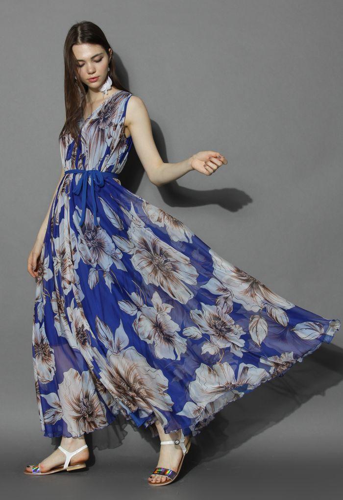 フラワー/シフォン/マキシスリップドレス/ブルー