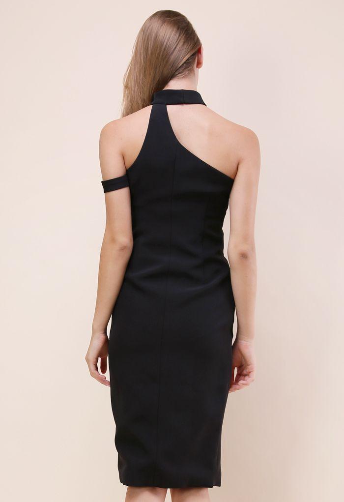 ファッション/ホルターネックドレス/ブラック