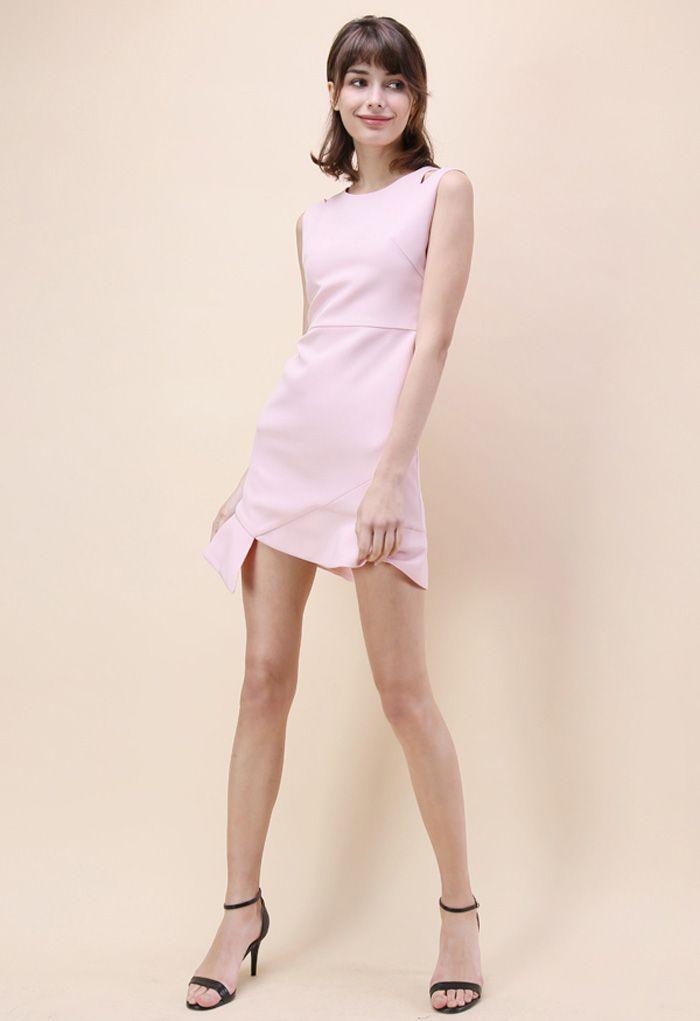 肩カットノースリーブアシンメトリードレス/ピンク