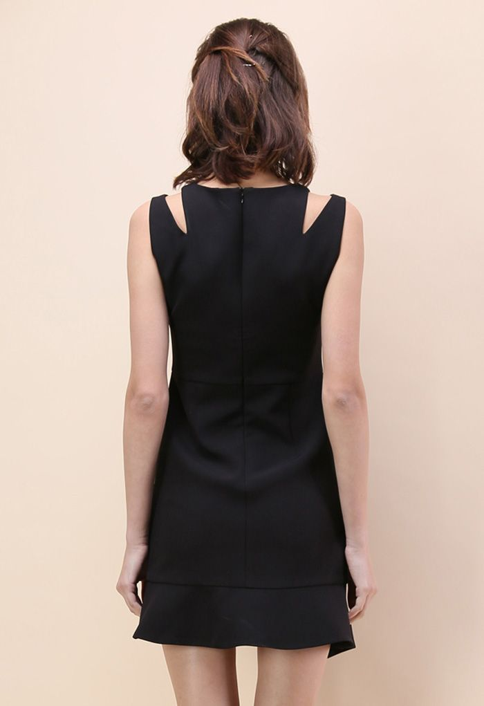 肩カットノースリーブアシンメトリードレス/ブラック