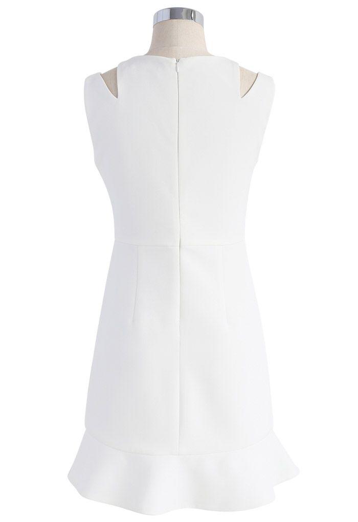 肩カットノースリーブアシンメトリードレス/ホワイト