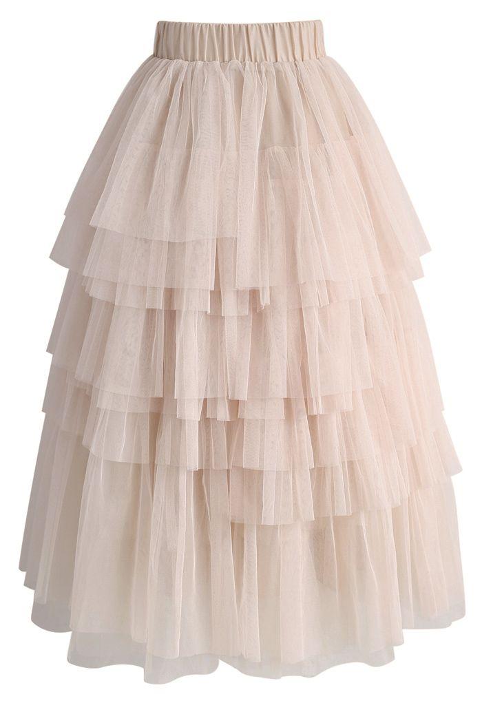 チュール ティアードスカート ヌードピンク
