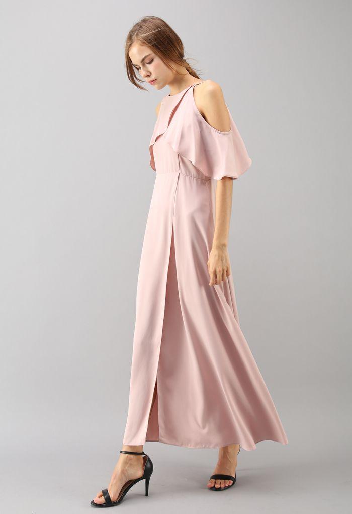 着痩せ 肩魅せ ラップ風 マキシワンピース ドレス ピンク