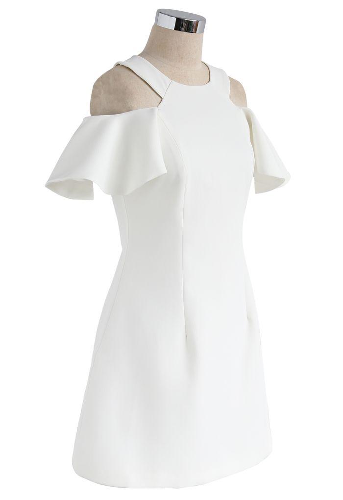 フリル 肩魅せ aライン スケーターワンピース ドレス ホワイト
