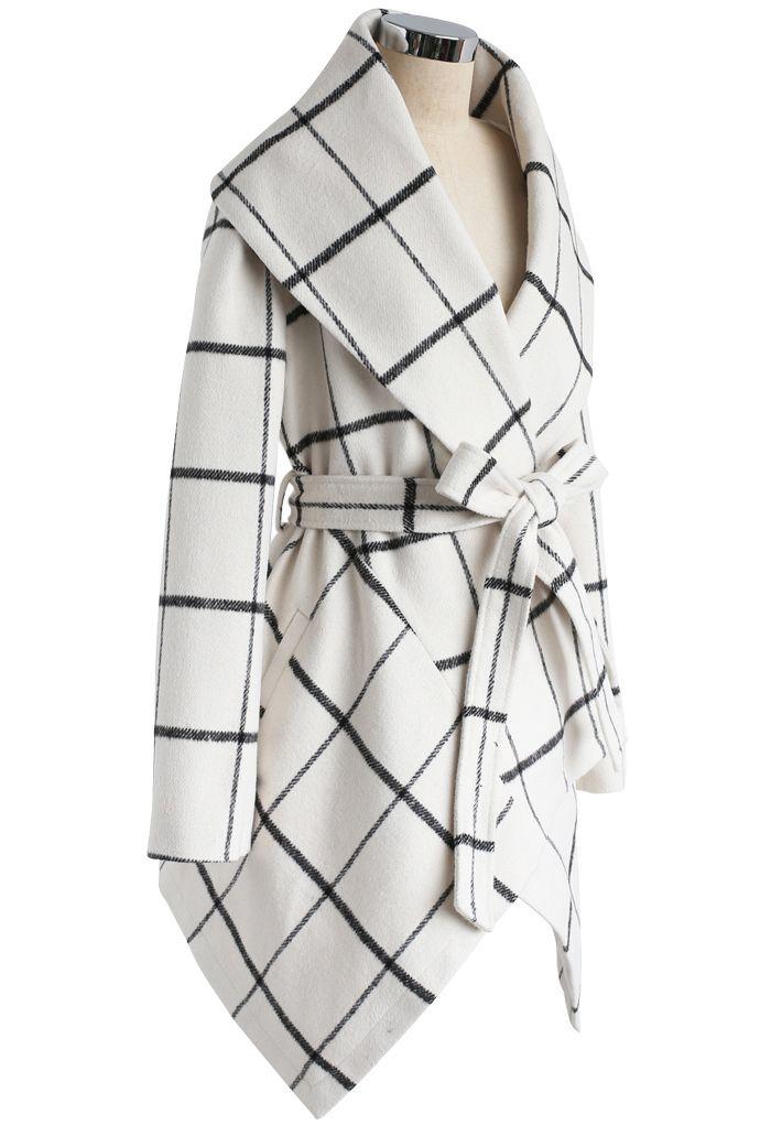 グリッド柄ベルト付きコート ホワイト