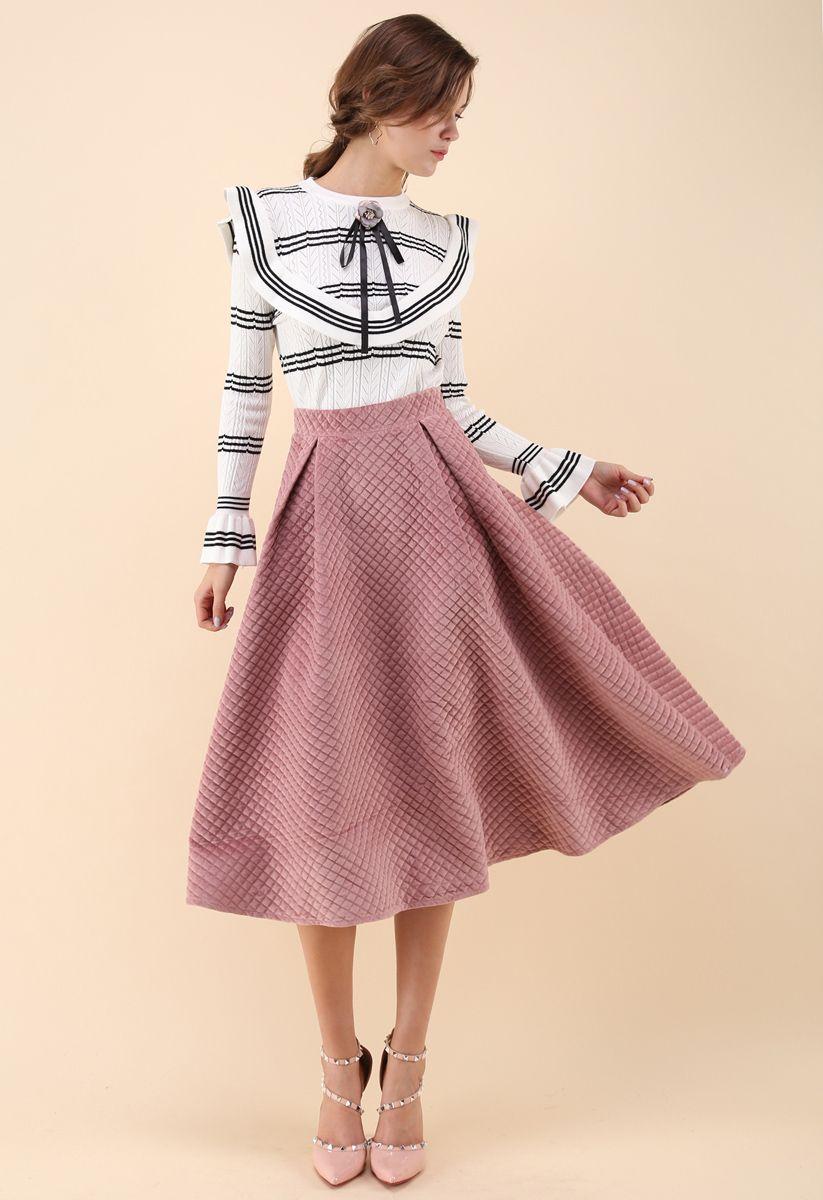 キルティングフレアスカート ピンク