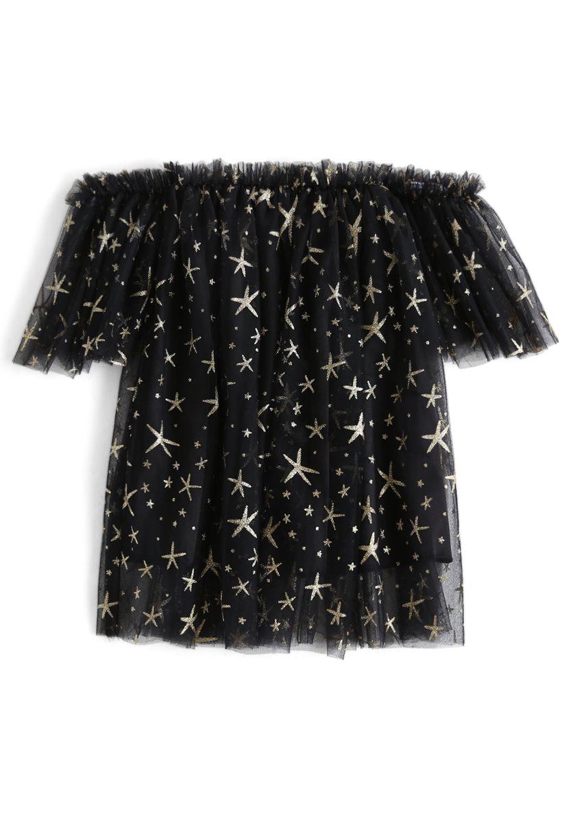 [子供服]星柄メッシュオフショルダーチュニック ブラック