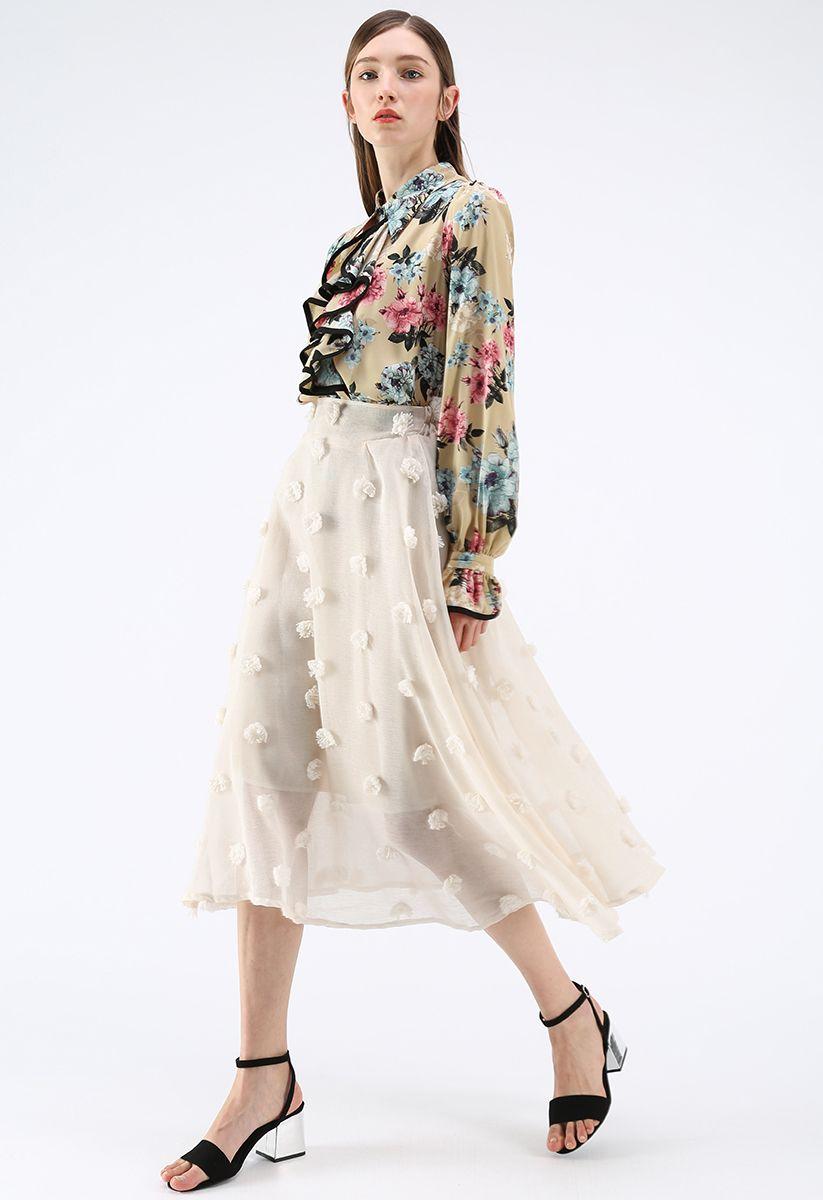 3D花付きスカート アイボリー