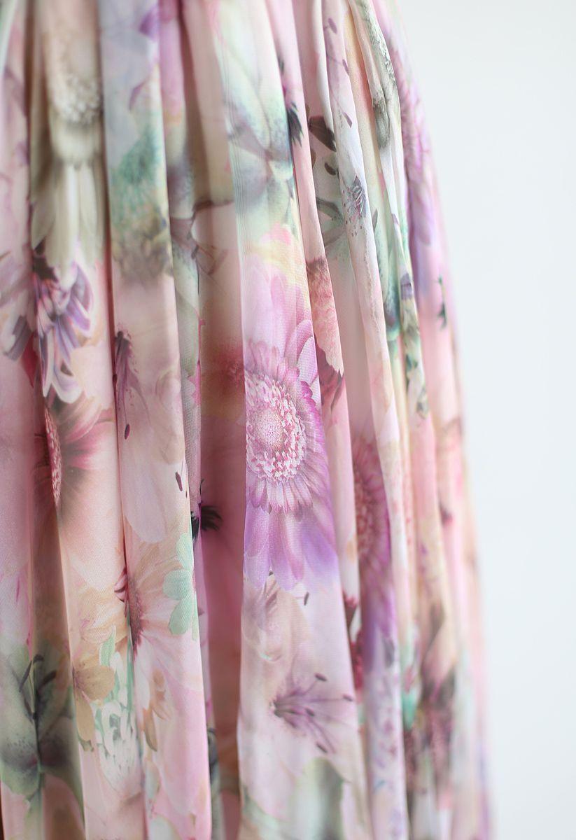 水彩花柄シフォンマキシワンピース