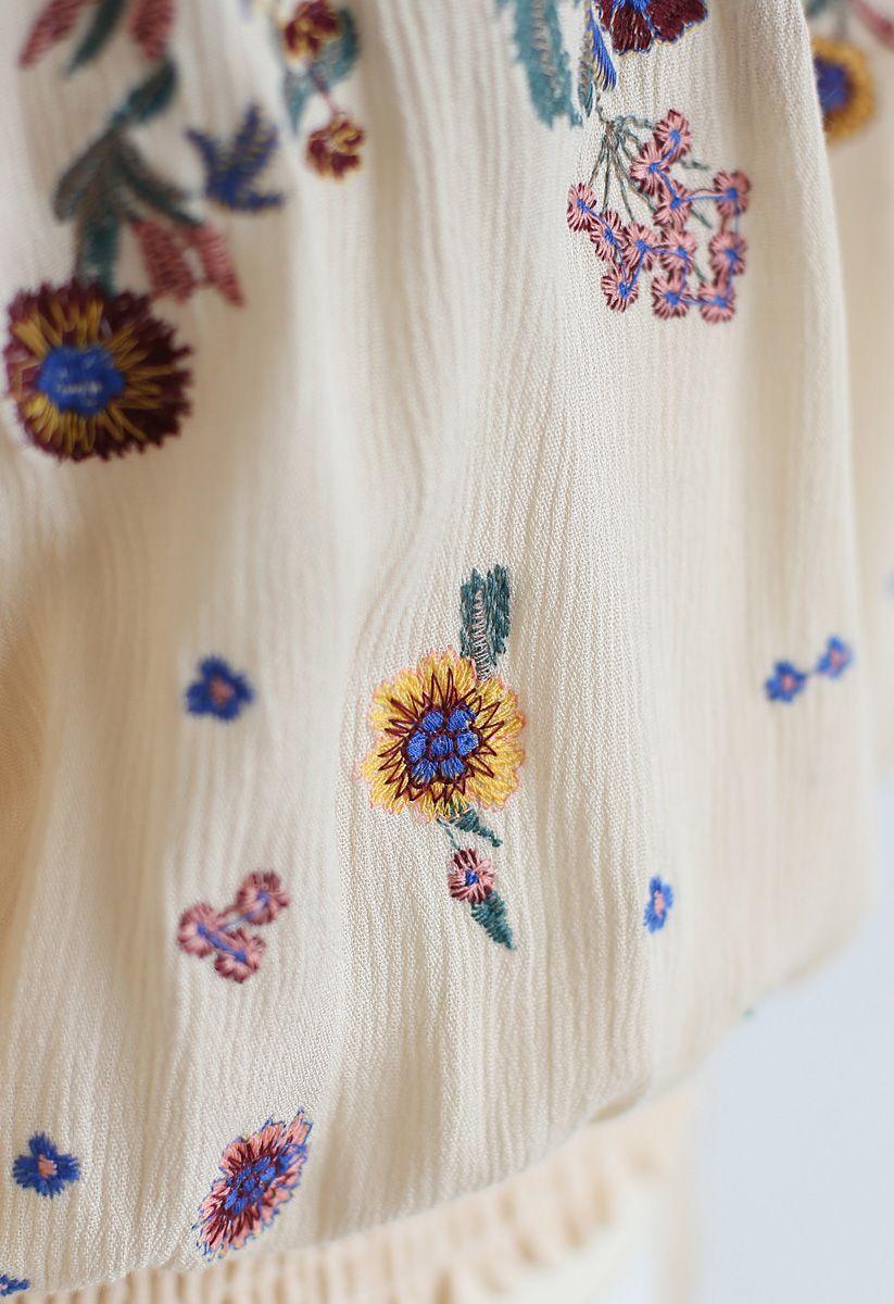 花柄刺繍オフショルダートップス