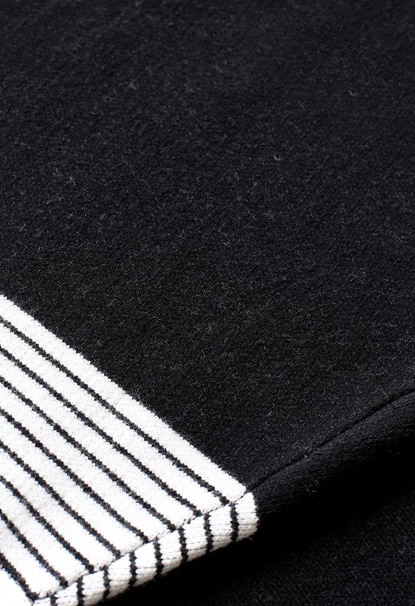 オーバーサイズ ボーダー柄 ニット ポンチョ セーター ブラック