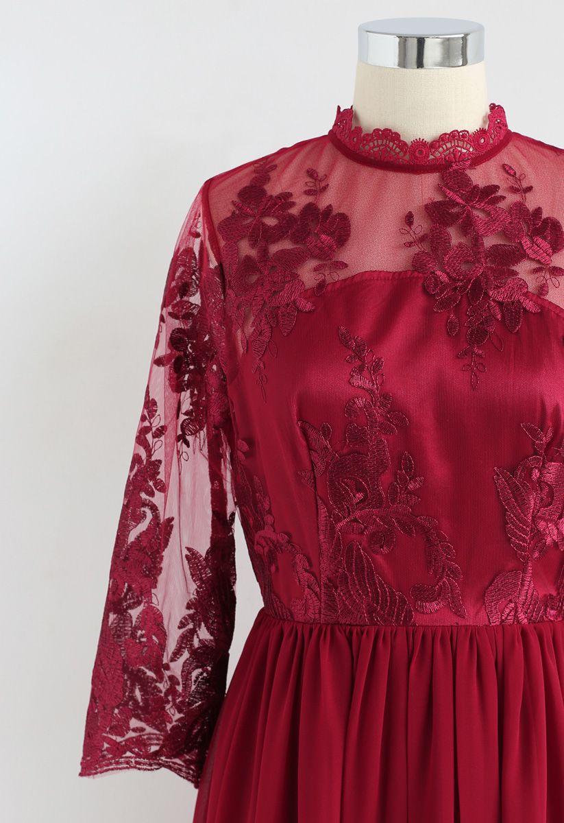 花柄刺繍メッシュシフォンワンピース レッド
