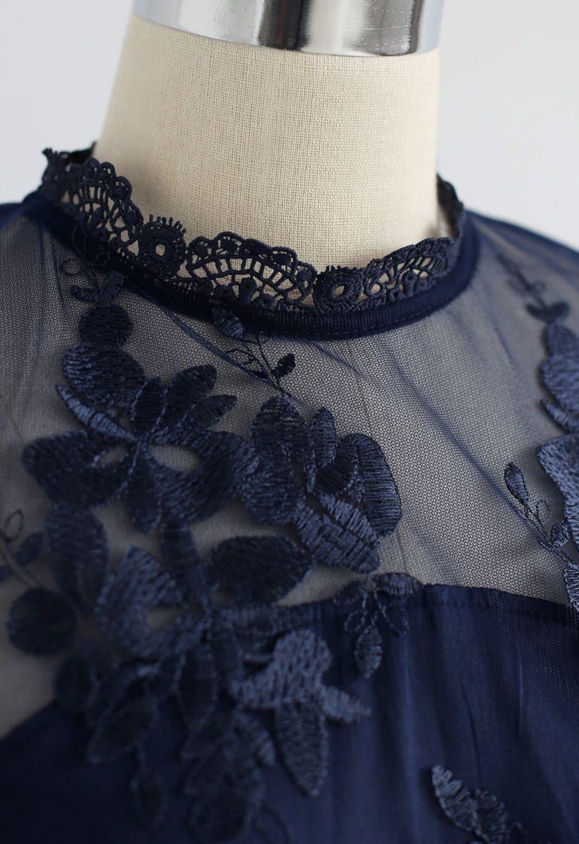花柄刺繍メッシュシフォンワンピース ネイビー