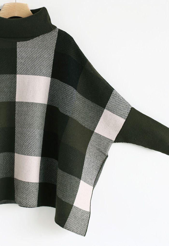 タートルネックチェック柄ケープセーター カーキ