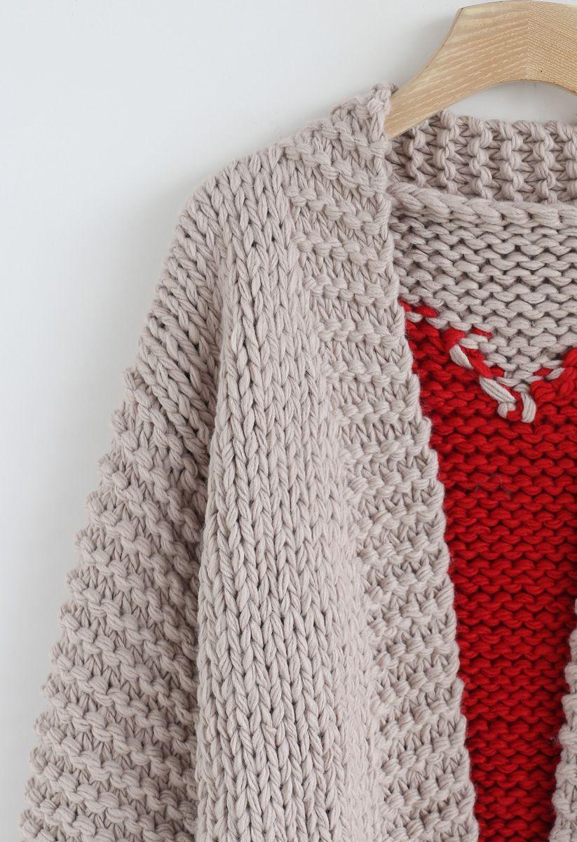 手編みハート柄セーター