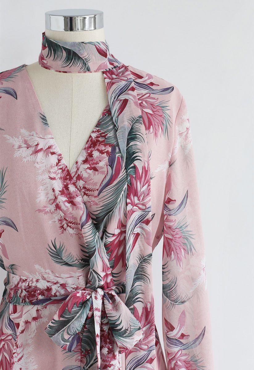 花柄シフォンマキシワンピース ピンク