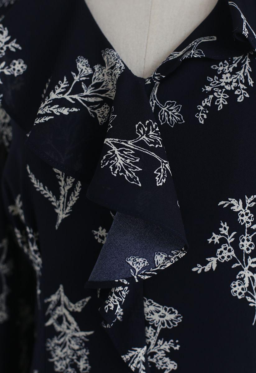 花柄ラッフルVネックワンピース ネイビー