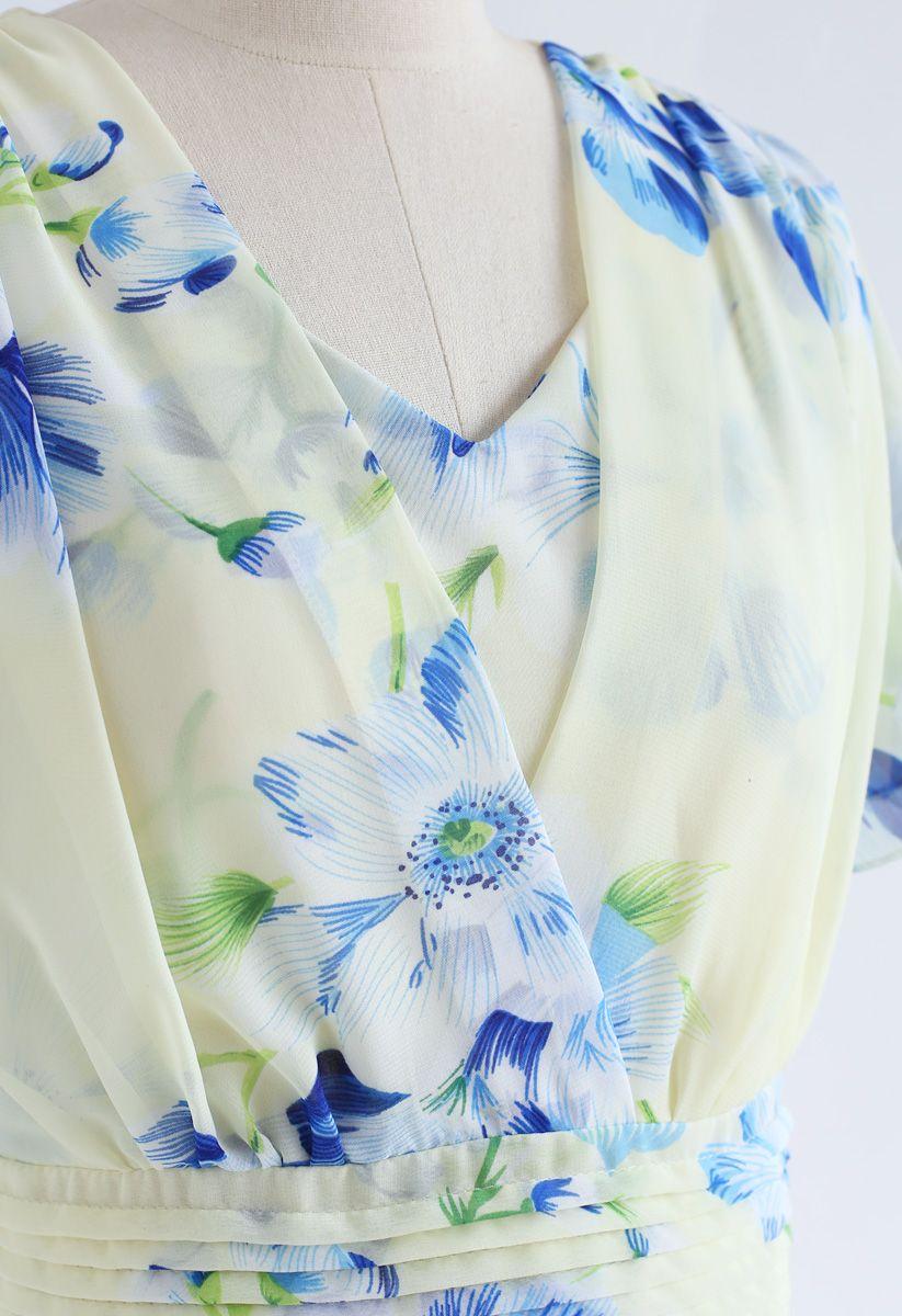 花柄シフォンワンピース アイボリー