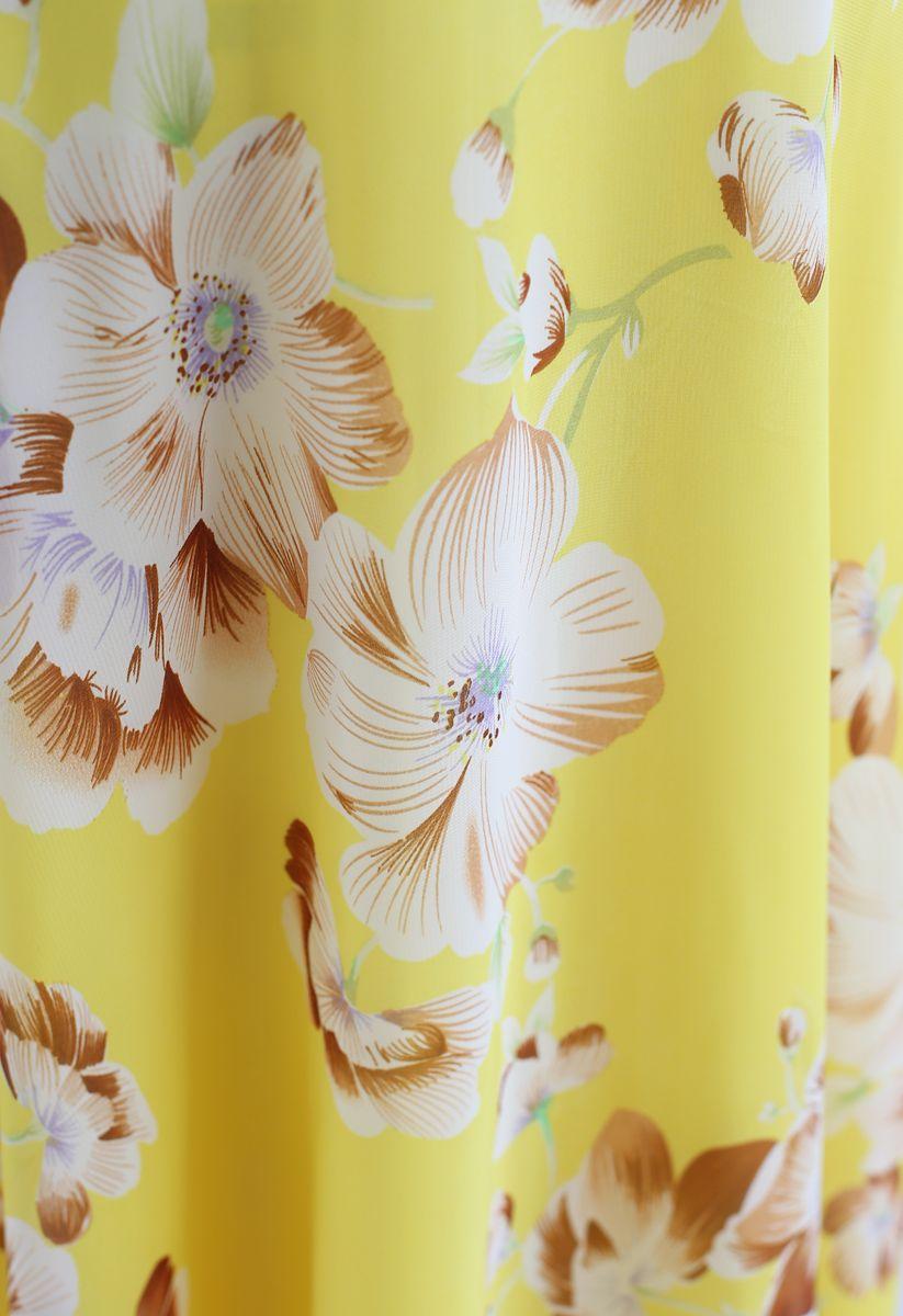 花柄シフォンワンピース イエロー