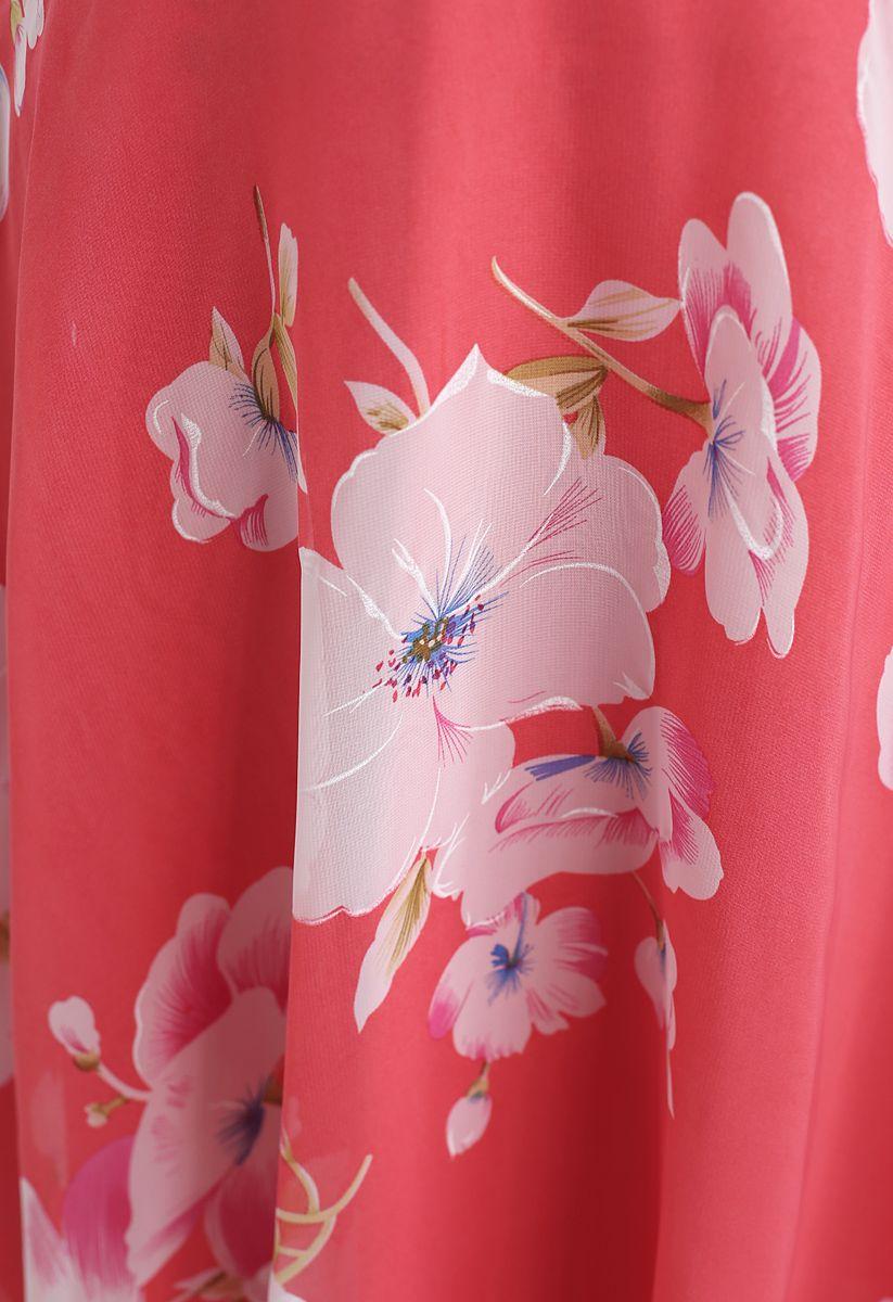 花柄シフォンワンピース レッド