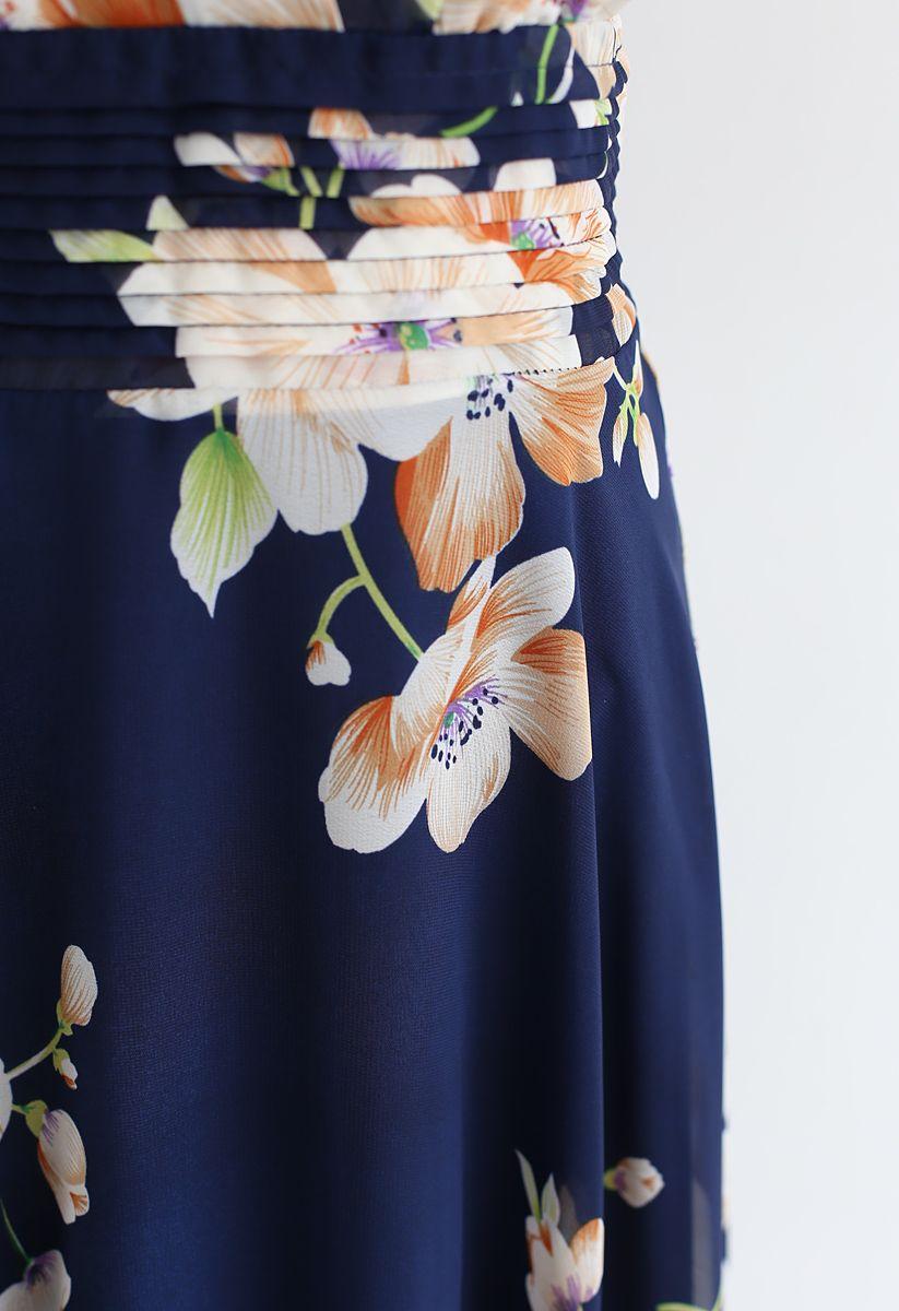 花柄シフォンワンピース ネイビー