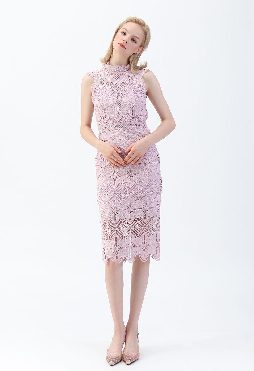 花柄クロッシェレースワンピース ピンク