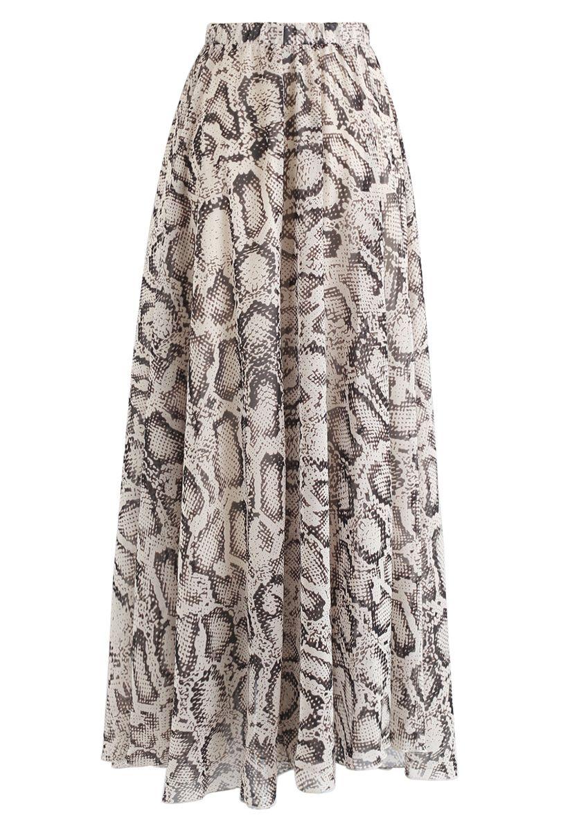 蛇柄非対称シフォンマキシスカート