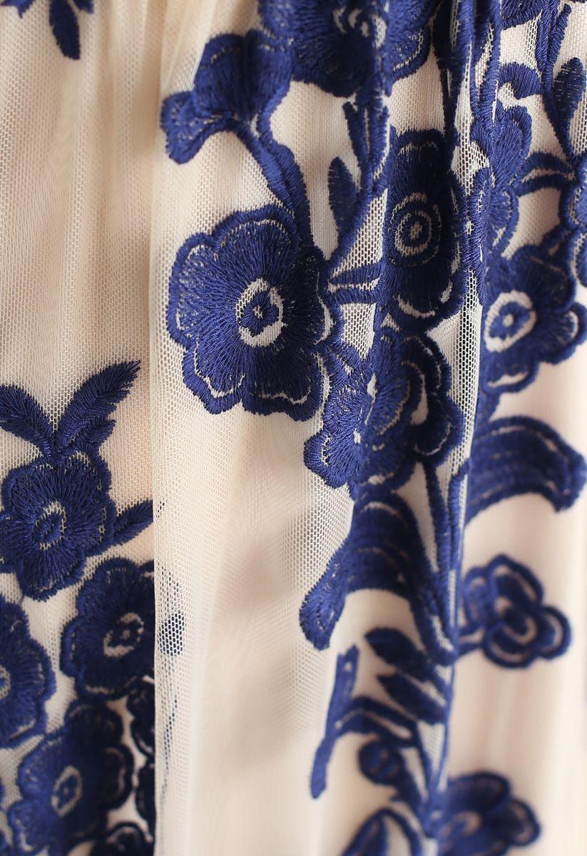 Vネック花柄刺繍メッシュマキシワンピース ネイビー