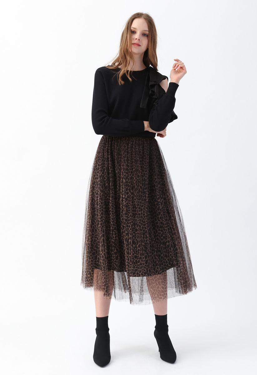 レオパード柄メッシュチュールプリーツスカート