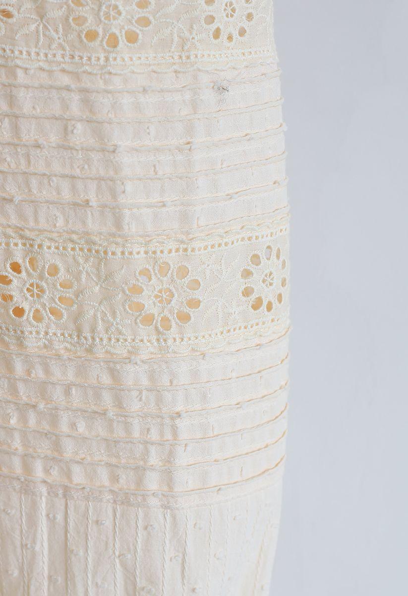 バブルスリーブドット刺繍ワンピース