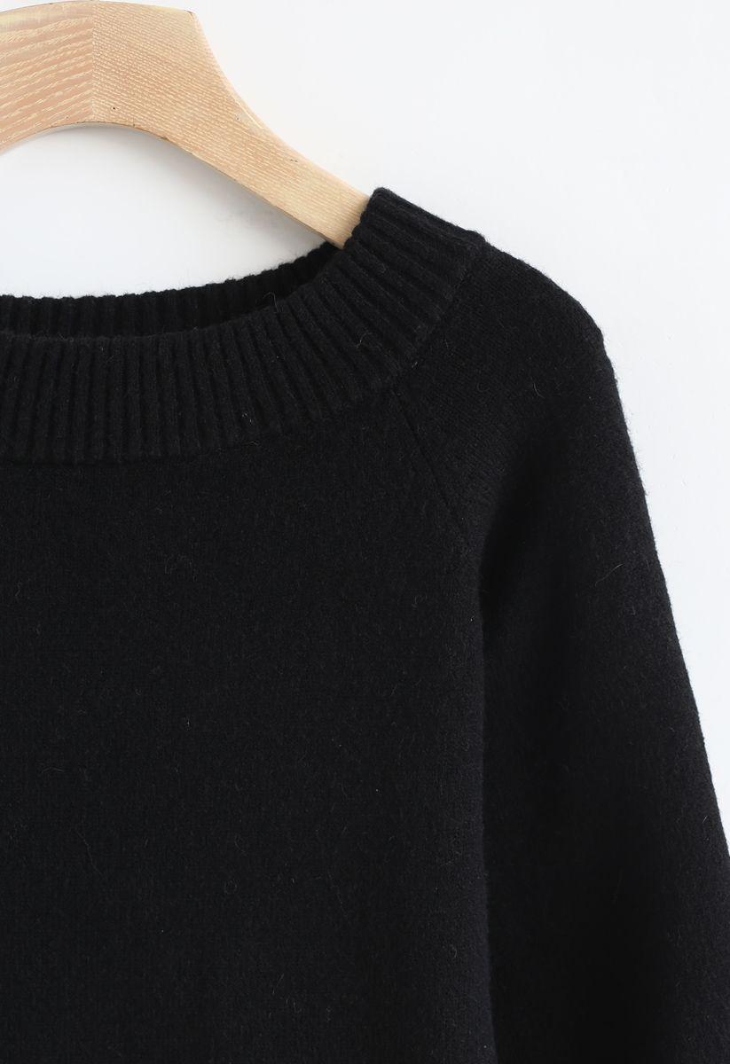 パフスリーブオフショルダーセーター ブラック