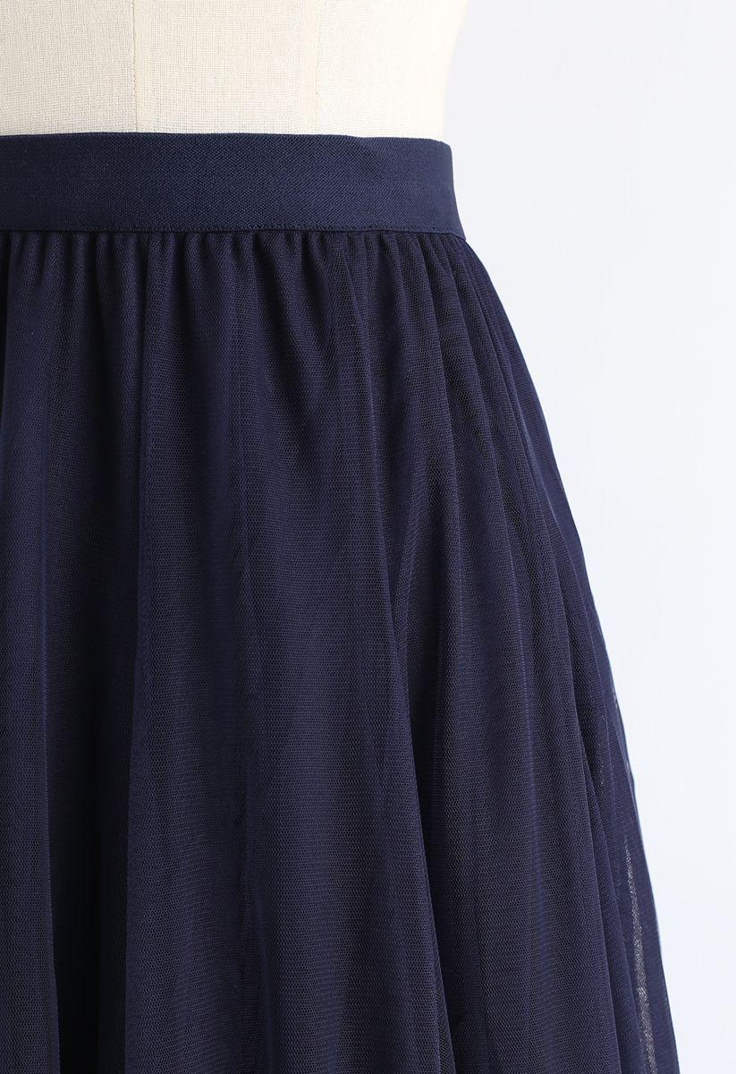 おしゃれコーデ術 マキシ丈 チュール スカート ネイビー