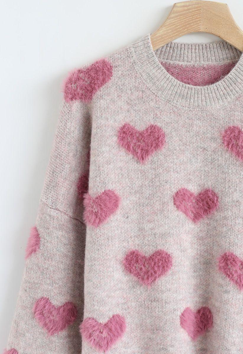 3Dハート柄セーター