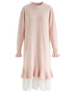 オーガンザフリル裾ニットワンピース ピンク