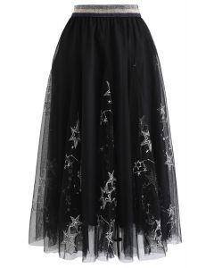 シークイン付き星柄刺繍メッシュスカート ブラック