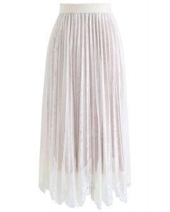 レーシー裾メッシュベルベットスカート ホワイト