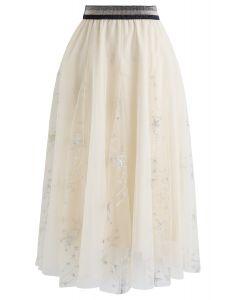 シークイン付き星柄刺繍メッシュスカート アイボリー