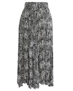 レオパード柄プリーツスカート ブラック