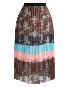 花柄メッシュチュールスカート ブラウン