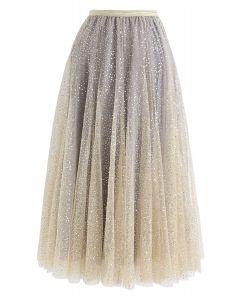 シークイン刺繍メッシュチュールプリーツスカート