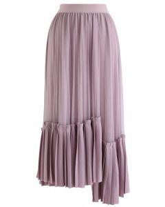非対称裾プリーツスカート ライラック