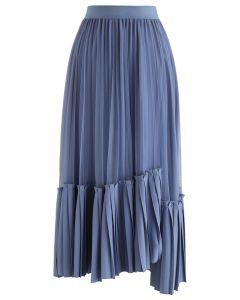 非対称裾プリーツスカート ブルー