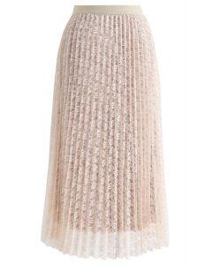 花柄メッシュプリーツスカート アイボリー