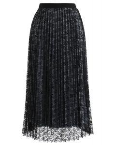 花柄メッシュプリーツスカート ブラック