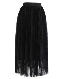 メッシュプリーツスカート ブラック