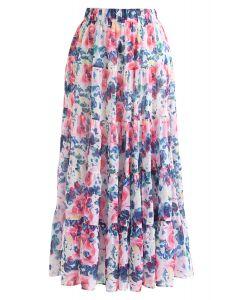 花柄水彩ラッフルマキシスカート ピンク