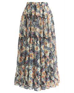 花柄水彩ラッフルマキシスカート イエロー