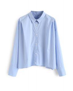 ボタンダウンスリーブシャツ ブルー