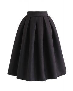 ジャカードプリーツAラインスカート ブラック